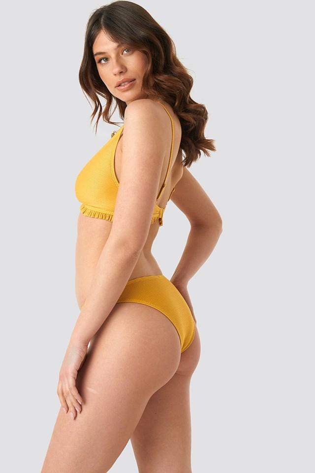 Ribbed Flounce Bikini Top Golden Yellow