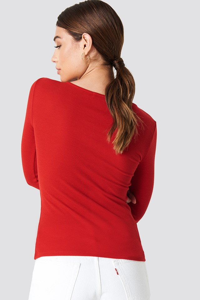 Ribbed Henley Top Red