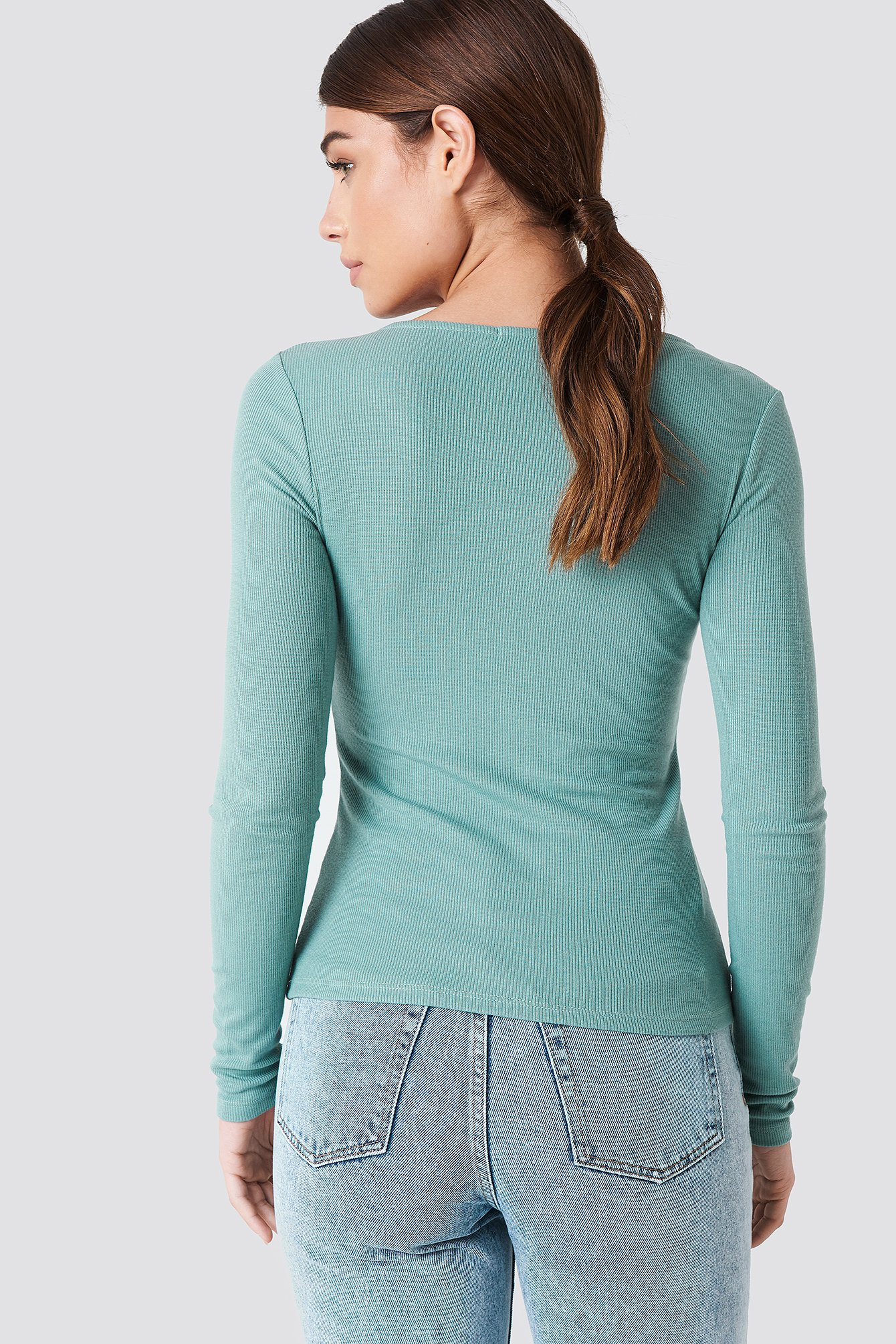 Ribbed Henley Top NA-KD.COM