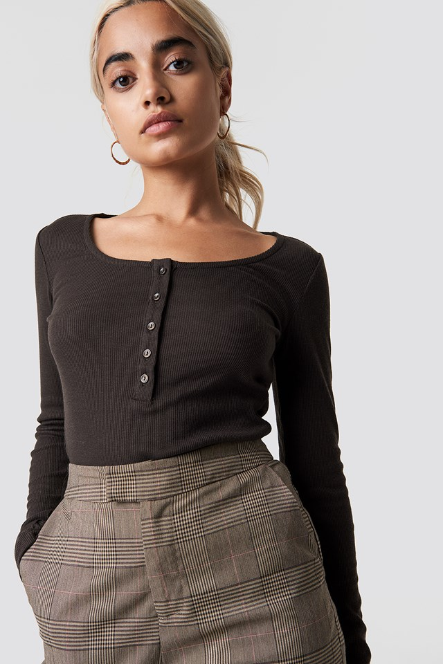 Ribbed Henley Top Coffee