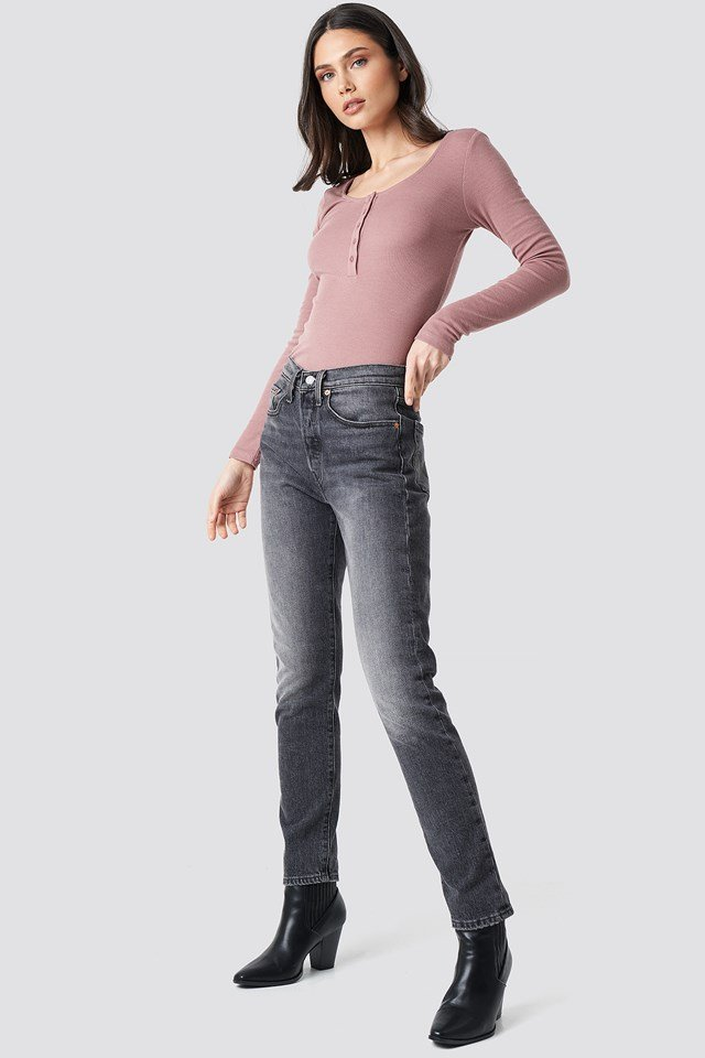 Ribbed Henley Top Dusty Dark Pink