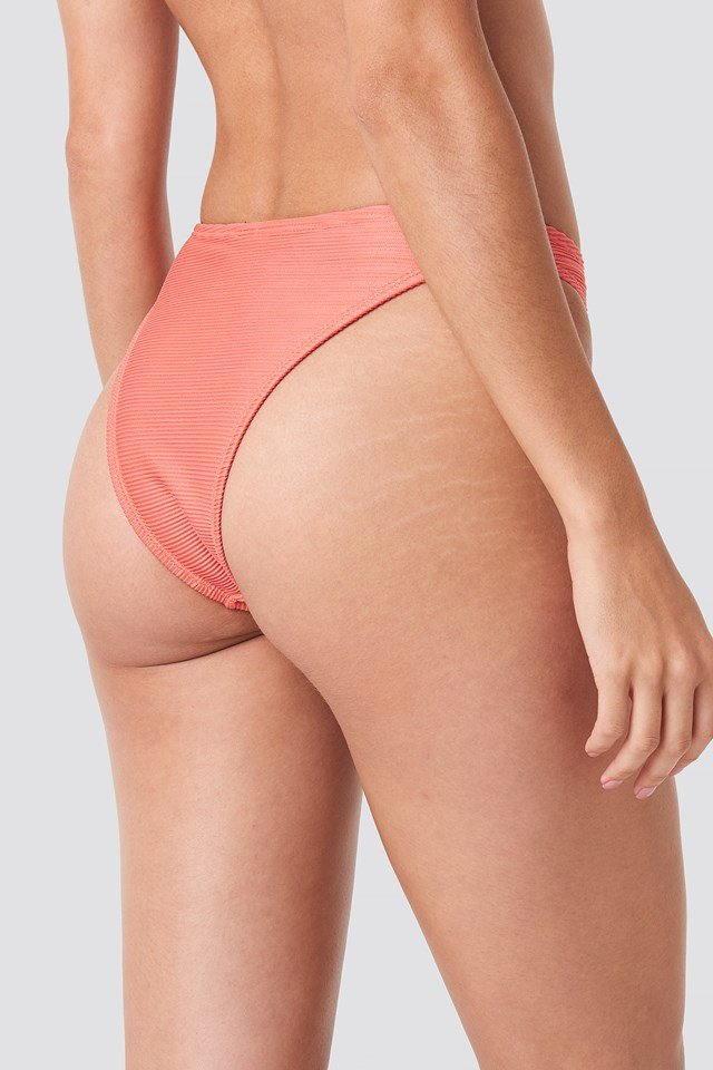 Ribbed High Cut Panty Coral