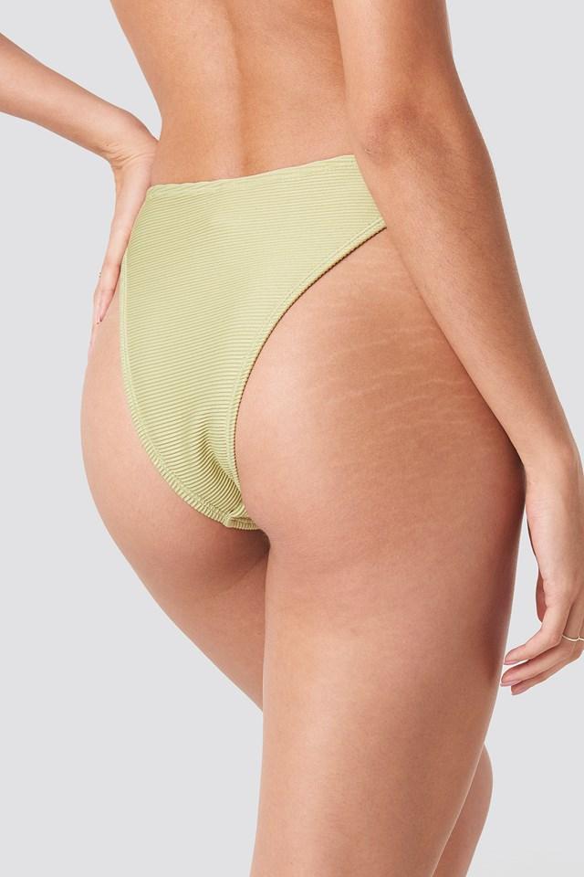 Ribbed High Cut Panty Dusty Light Green