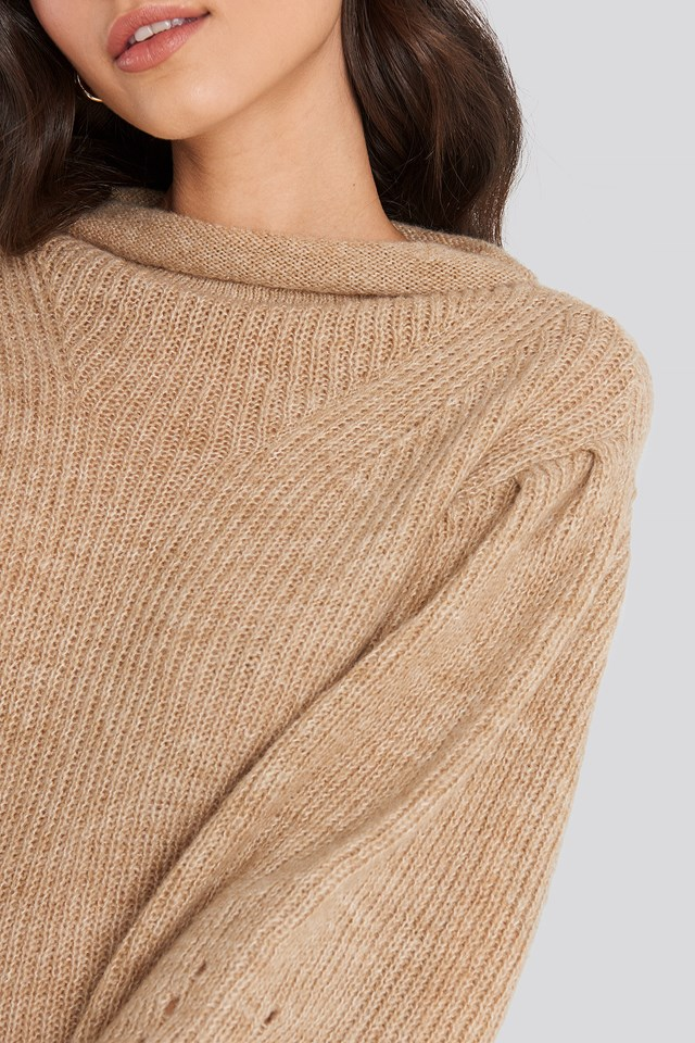 Ribbed High Neck Ballon Sleeve Knitted Sweater Beige