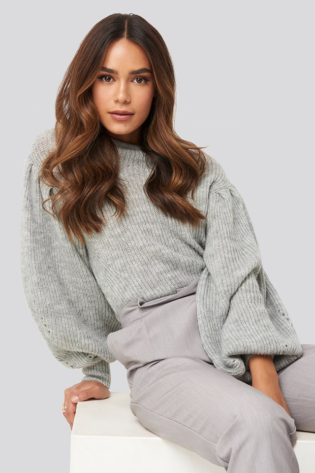 Ribbed High Neck Ballon Sleeve Knitted Sweater Grey