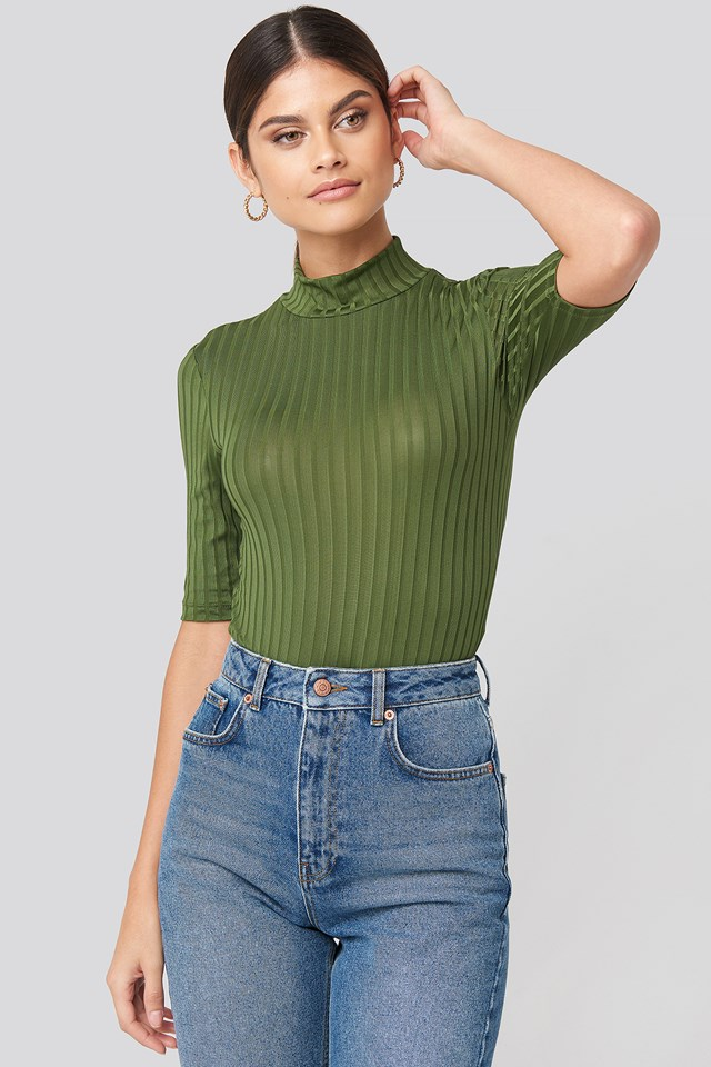 Ribbed High Neck Body Green