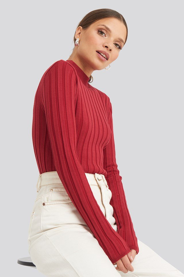 Ribbed High Neck Knitted Sweater Red