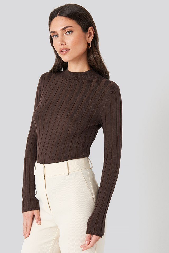 Ribbed High Neck Knitted Sweater Brown
