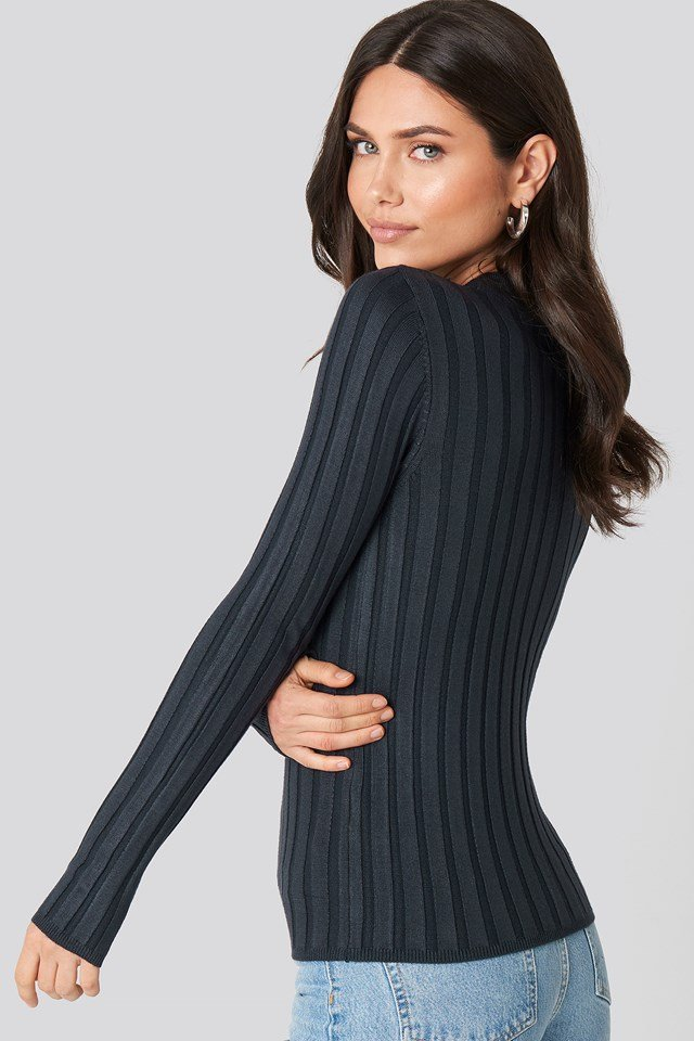 Ribbed High Neck Knitted Sweater Dark Blue