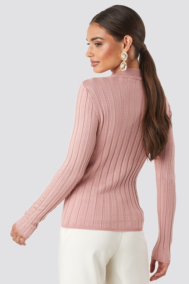 Ribbed High Neck Knitted Sweater Dusty Pink