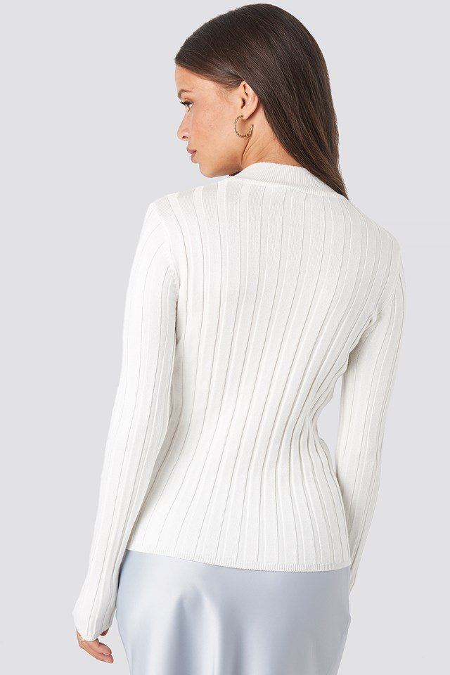 Ribbed High Neck Knitted Sweater Offwhite