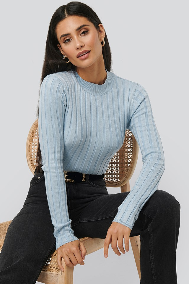 Ribbed High Neck Knitted Sweater Light Blue
