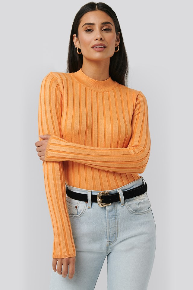 Ribbed High Neck Knitted Sweater Apricot