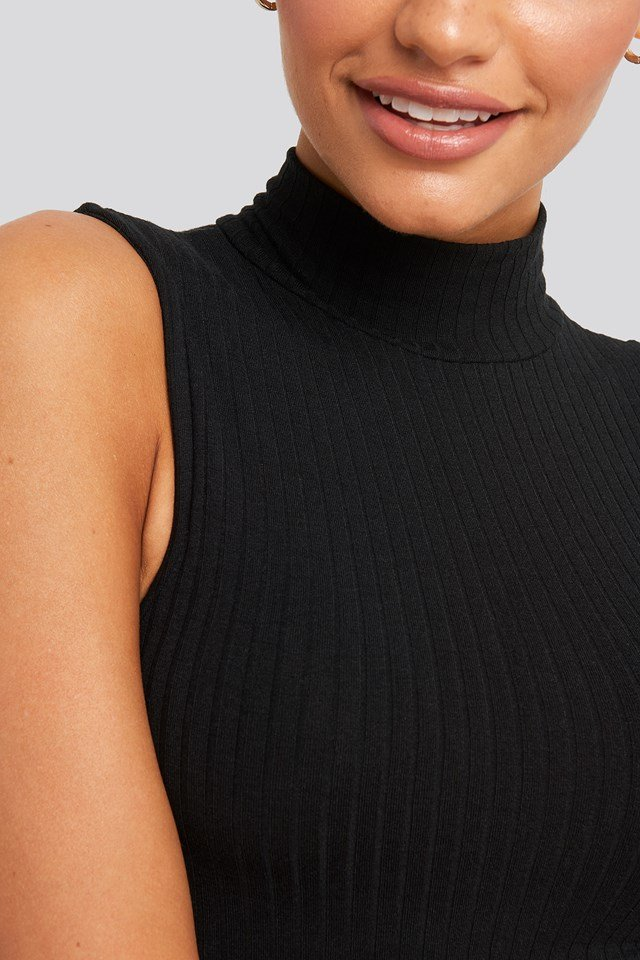 Ribbed High Neck Tank Top Black