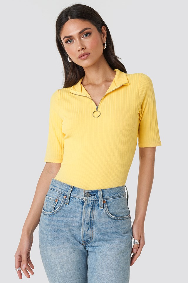 Ribbed High Neck Top Light Yellow