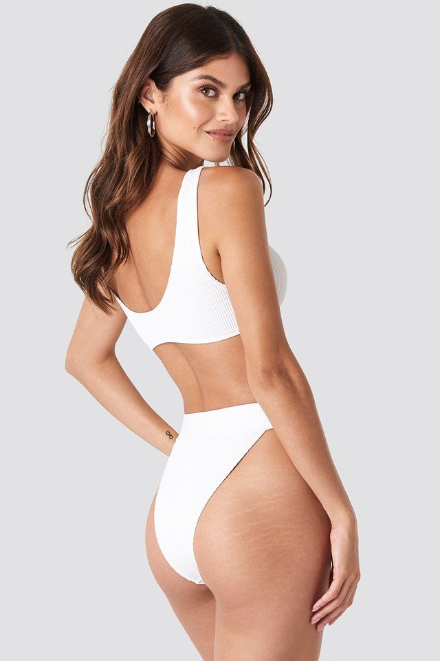 Ribbed High Waist Bikini Bottom White
