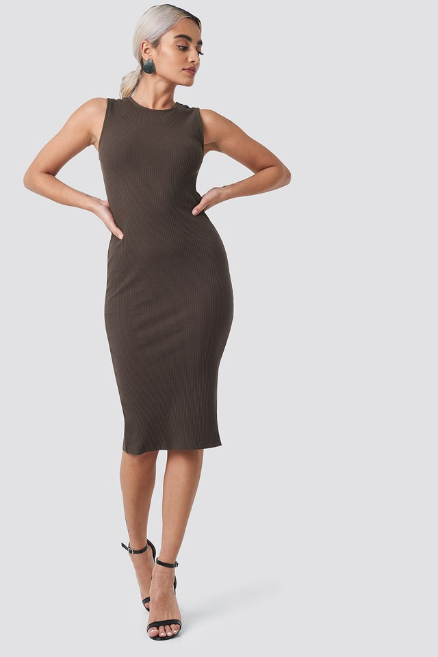 Ribbed Jersey Dress Coffee