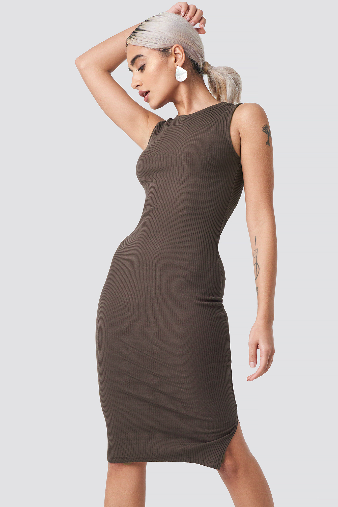 Coffee Ribbed Jersey Dress