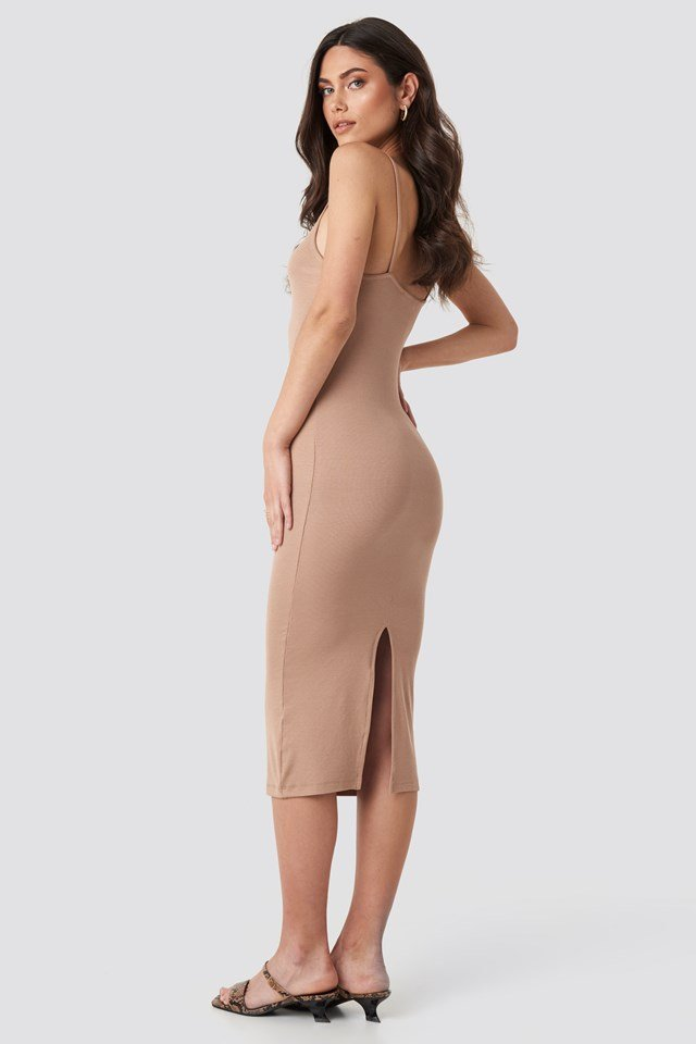 Ribbed Jersey Midi Dress Beige