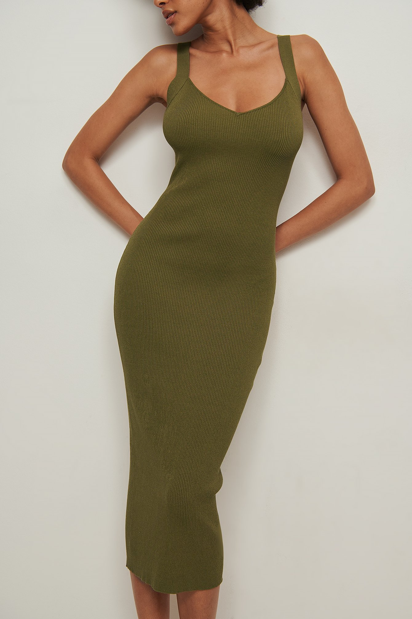 Ribbed Knitted Bodycon Midi Dress