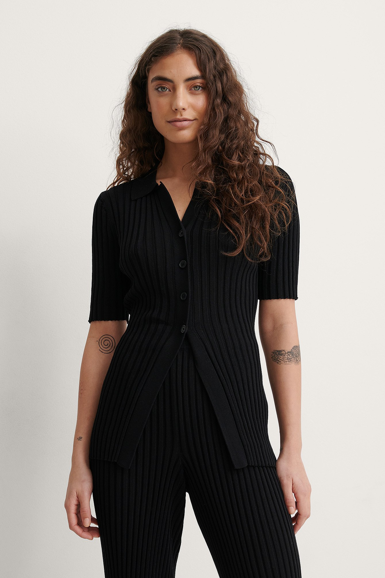 Black Ribbed Knitted Button Top