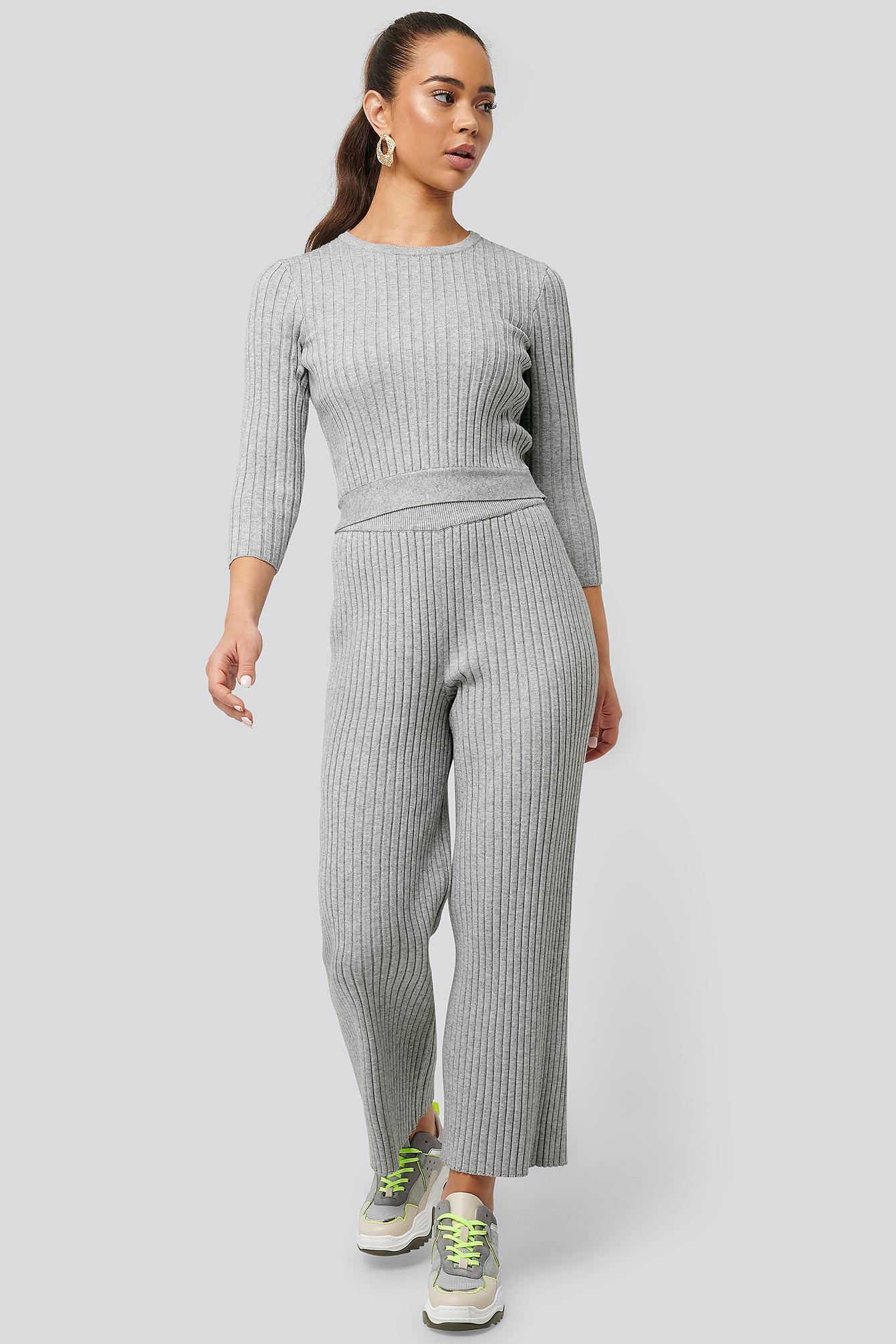 NA-KD Ribbed Knitted Culottes - Grey | Bekleidung > Hosen > Culottes | NA-KD
