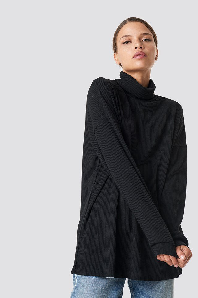 Ribbed Knitted High Neck Sweater NA-KD.COM