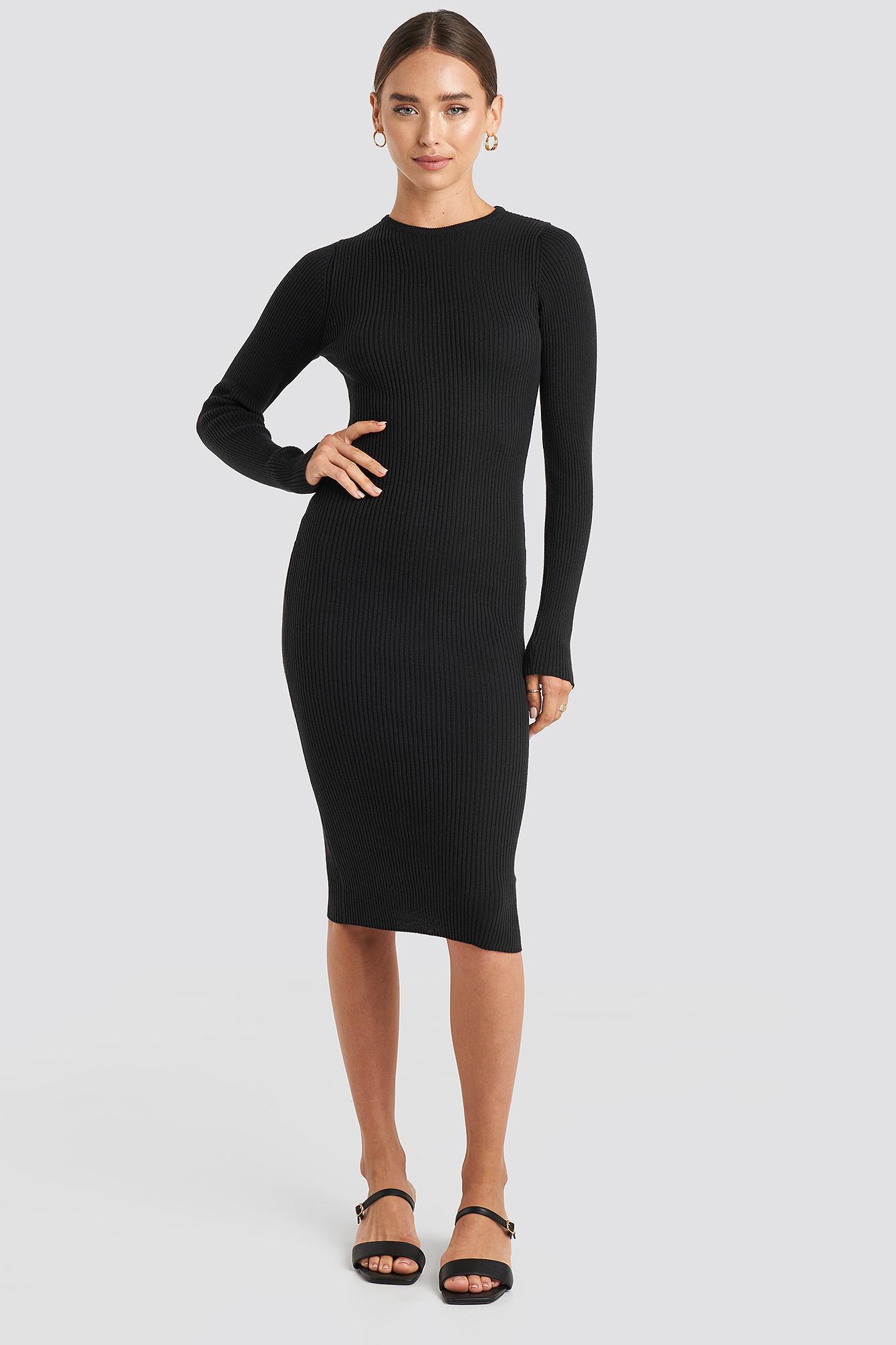 Ribbed Knitted Midi Dress