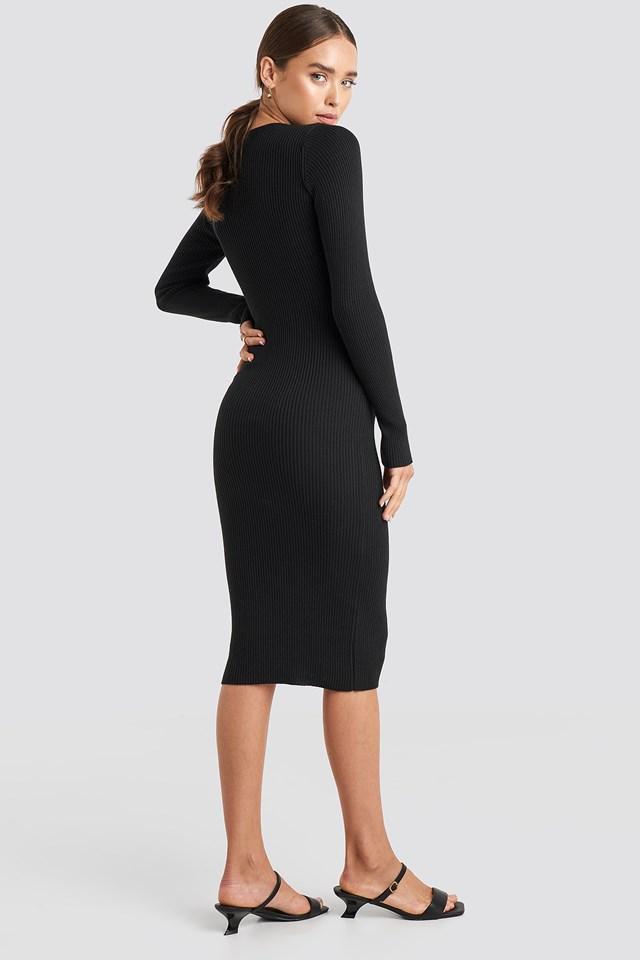 Ribbed Knitted Midi Dress Black