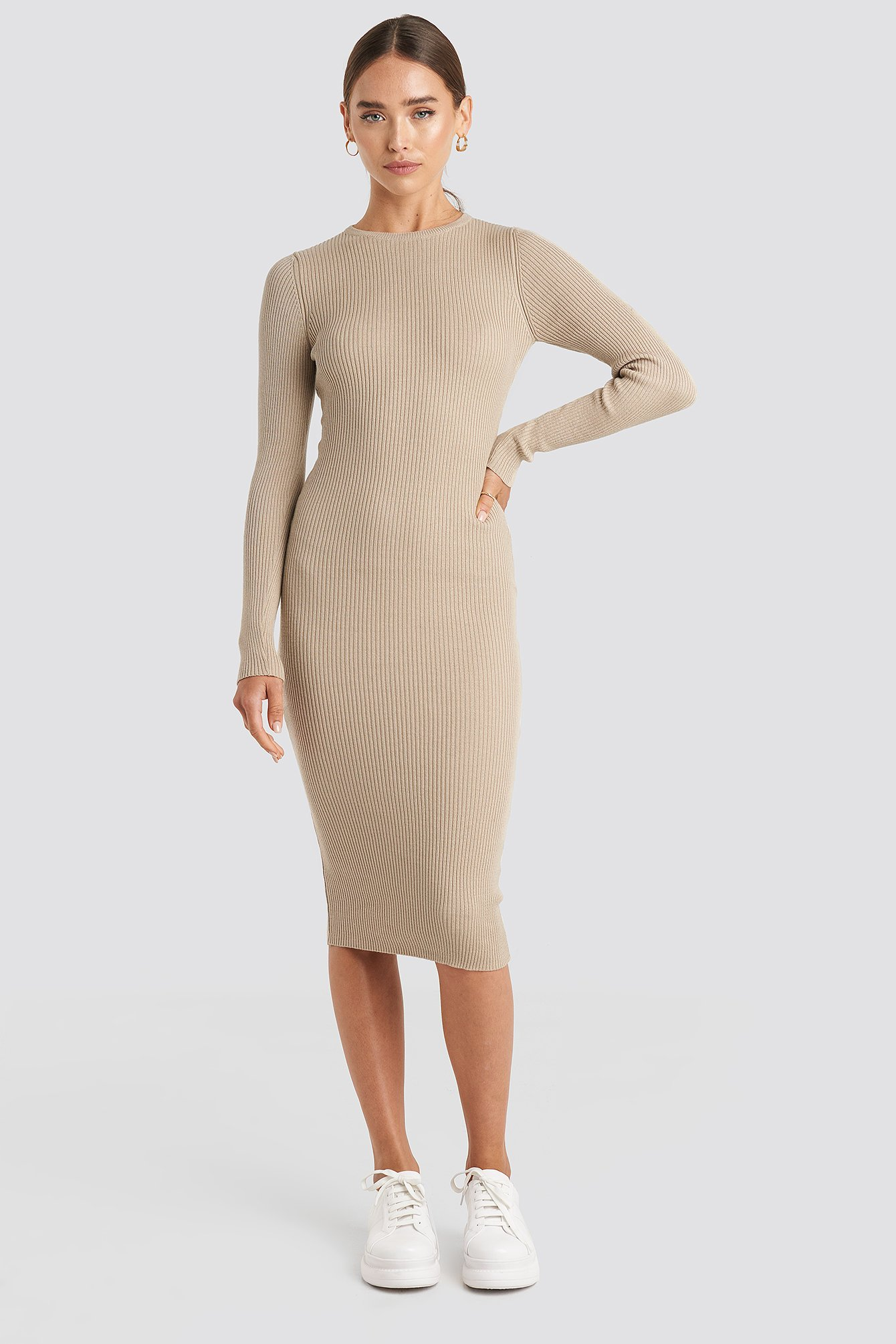 Beige Ribbed Knitted Midi Dress