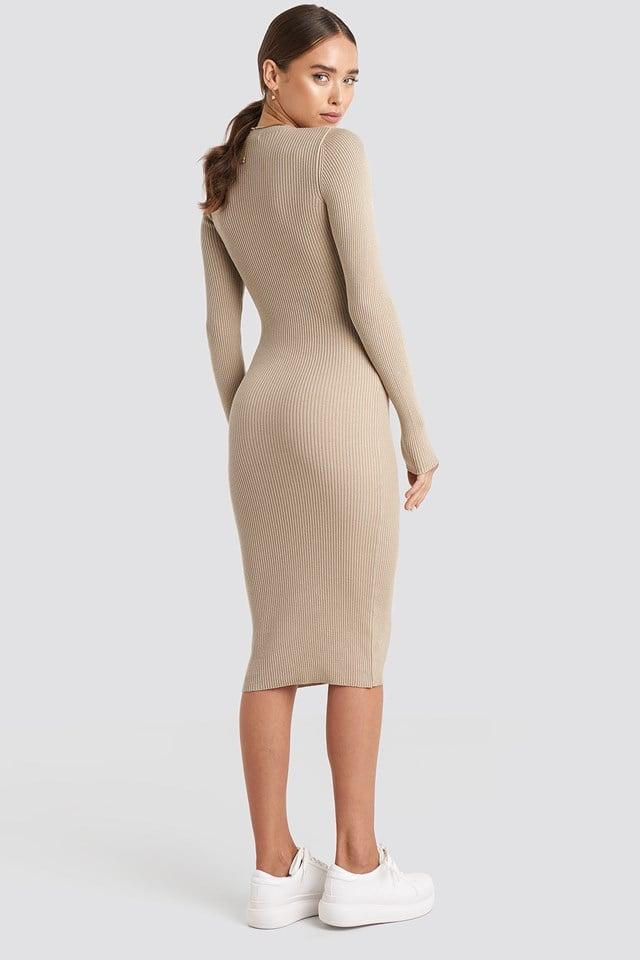 Ribbed Knitted Midi Dress Beige