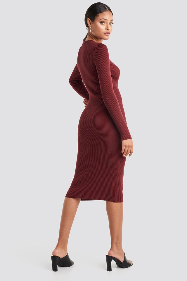 Ribbed Knitted Midi Dress Burgundy