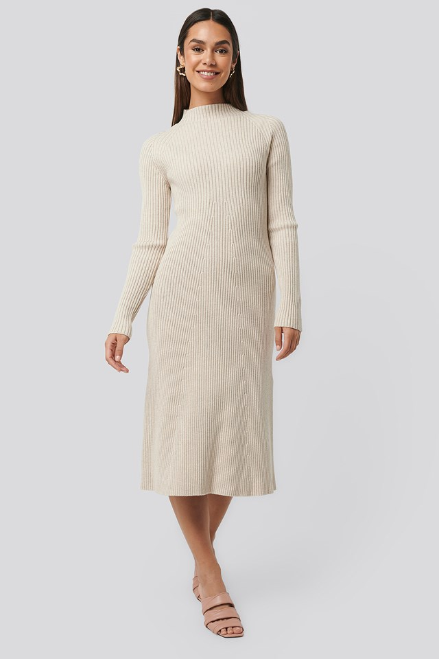 Ribbed Knitted Polo Dress Beige