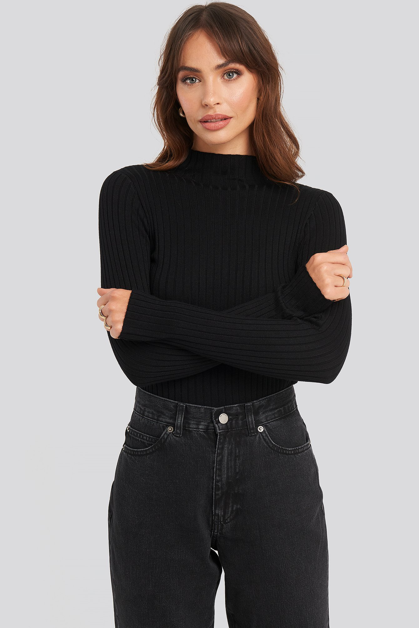 na-kd -  Ribbed Knitted Polo Sweater - Black