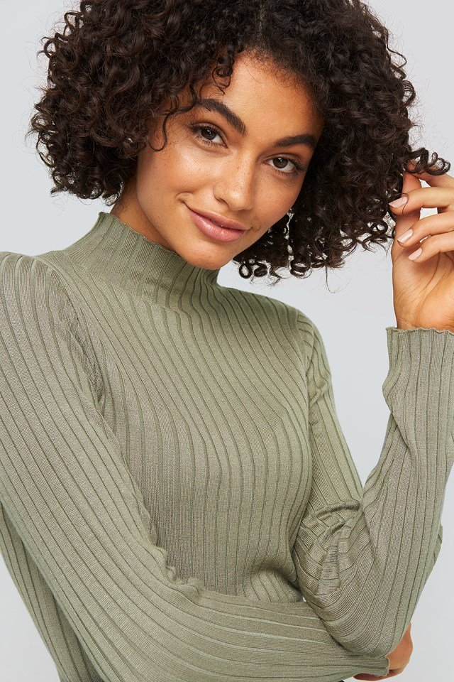 Ribbed Knitted Polo Sweater Khaki