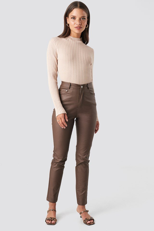 Ribbed Knitted Polo Sweater Light Beige