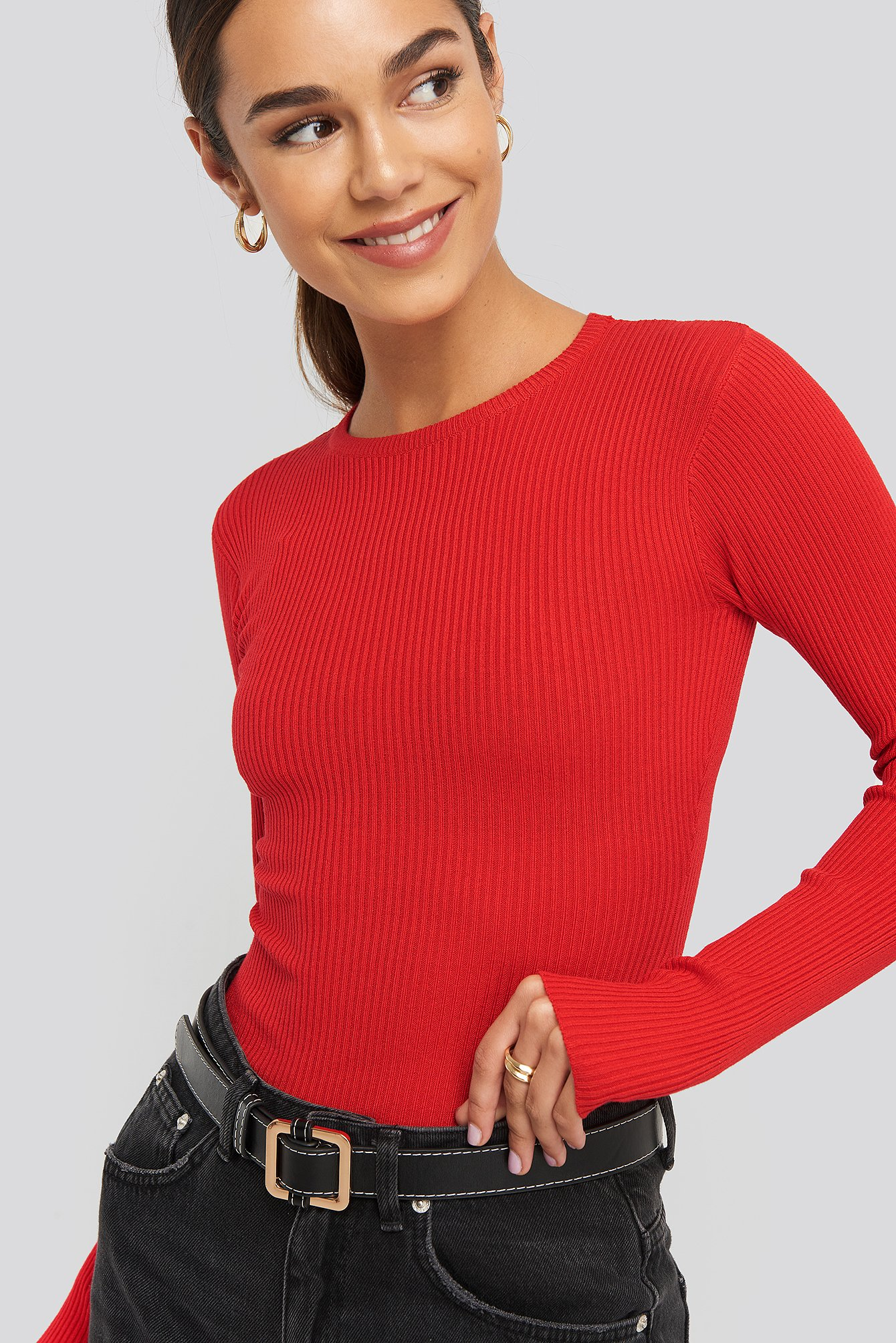 na-kd basic -  Ribbed Knitted Round Neck Sweater - Red