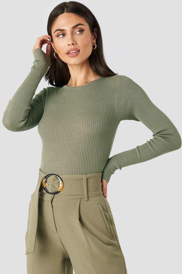 Ribbed Knitted Round Neck Sweater Khaki
