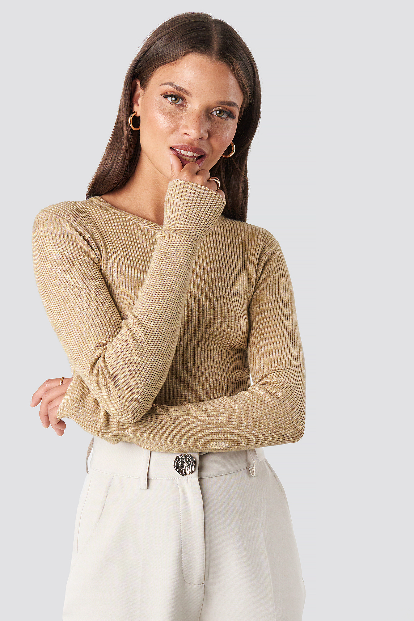 na-kd basic -  Ribbed Knitted Round Neck Sweater - Beige