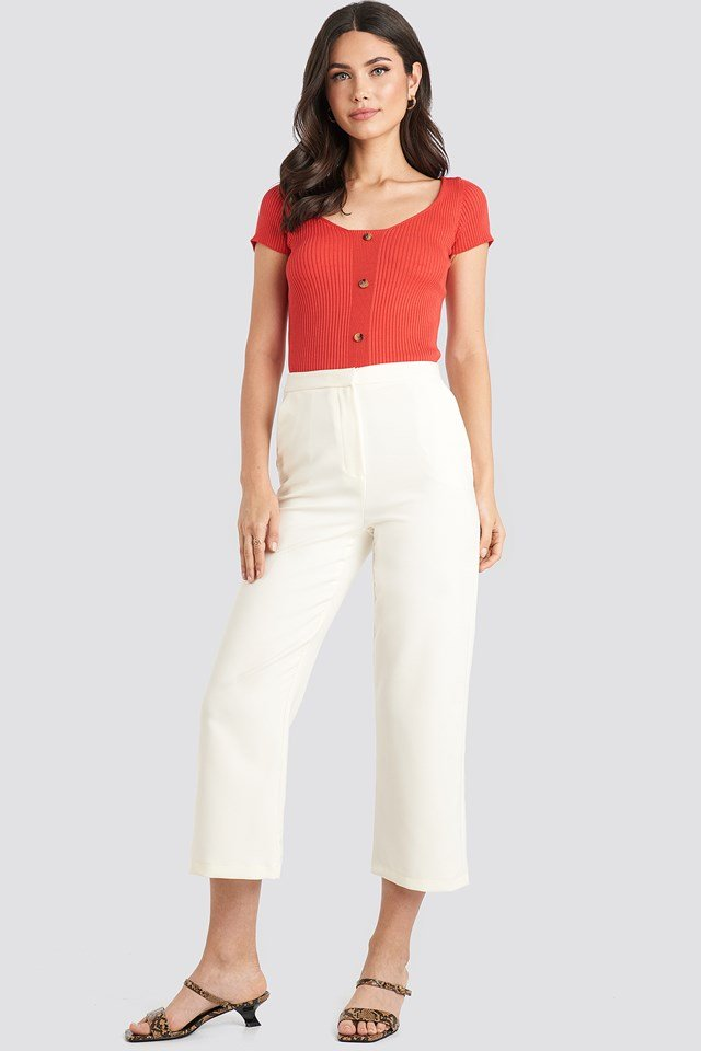 Ribbed Knitted Short Sleeve Top Red