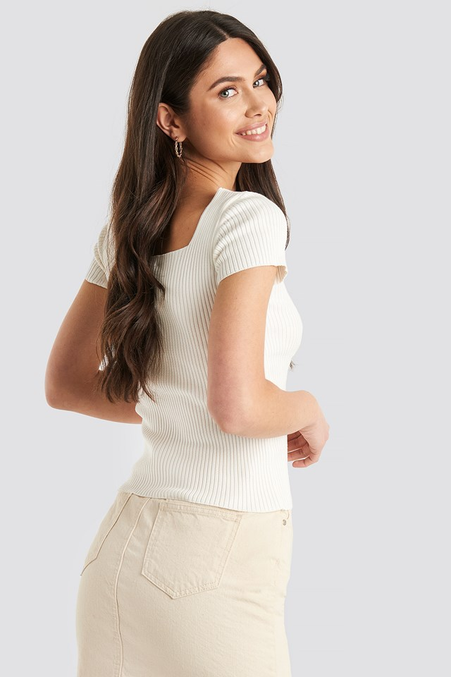Ribbed Knitted Short Sleeve Top Offwhite