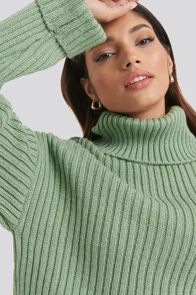 Ribbed Knitted Turtleneck Sweater NA-KD
