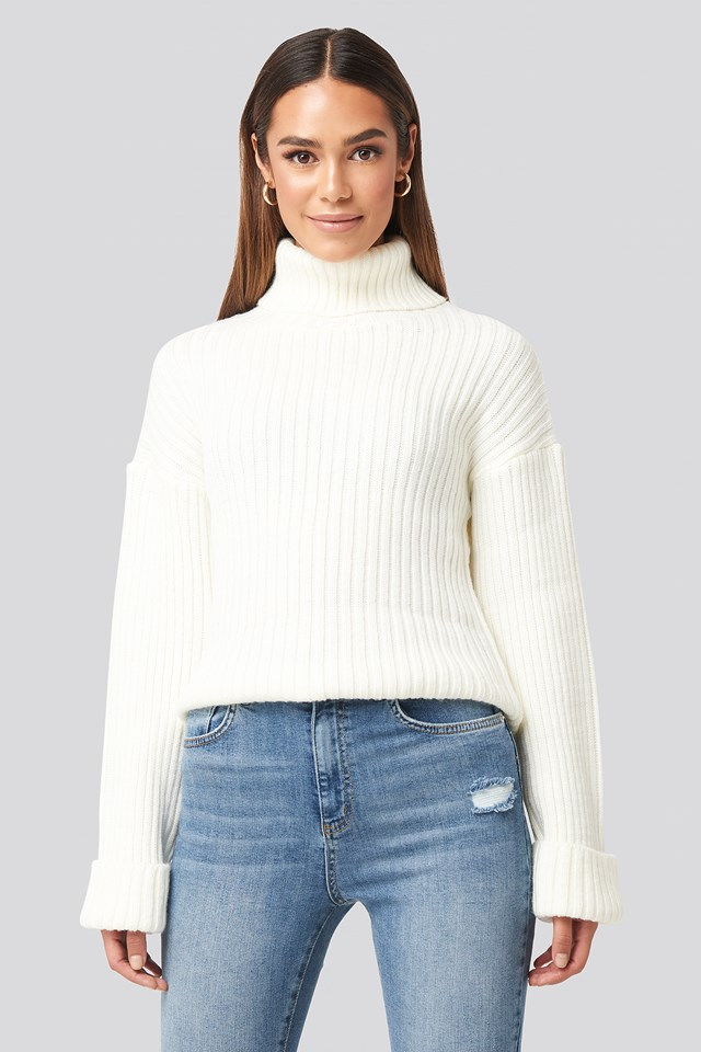 Ribbed Knitted Turtleneck Sweater Offwhite