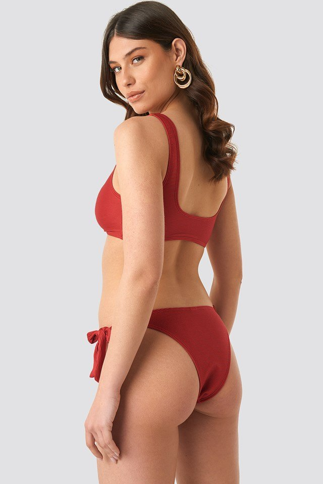 Ribbed Knot Bikini Panty Burnt Red