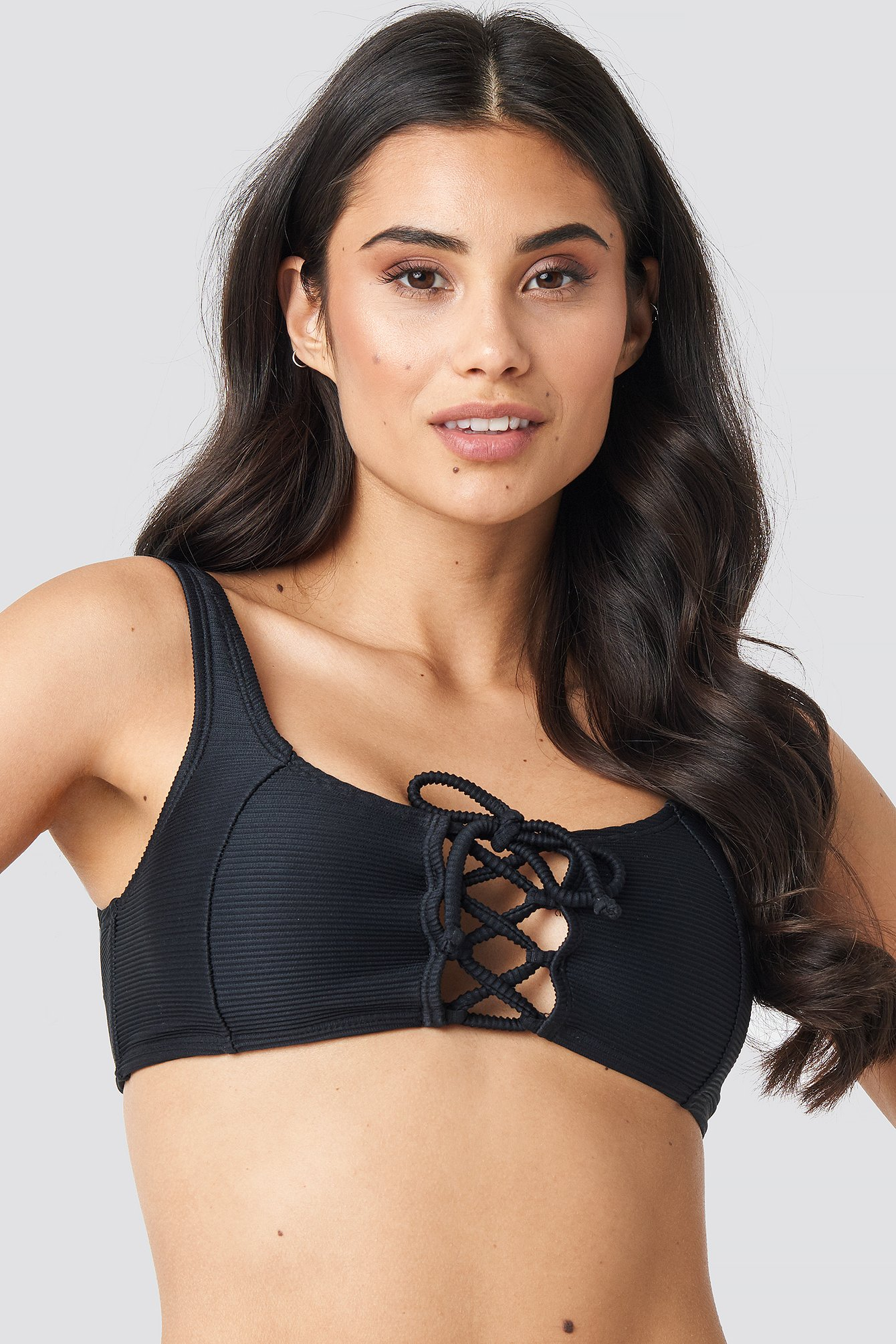 na-kd swimwear -  Ribbed Lace Up Bikini Top - Black