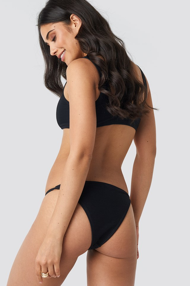 Ribbed Lace Up Bikini Top Black