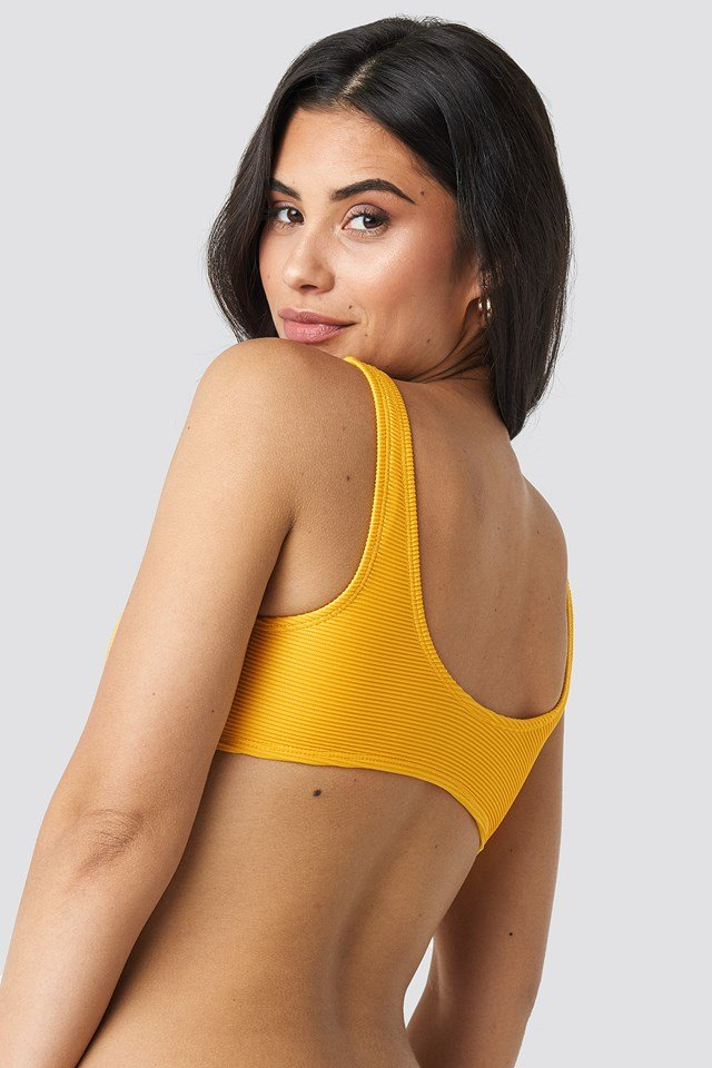 Ribbed Lace Up Bikini Top NA-KD.COM