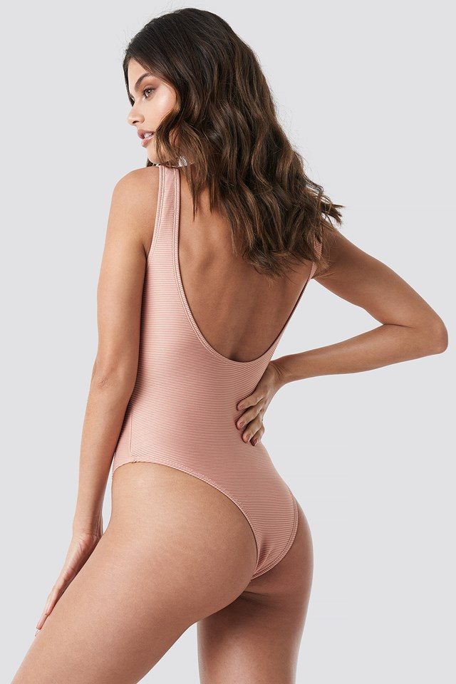 Ribbed Lace Up Swimsuit Terracotta