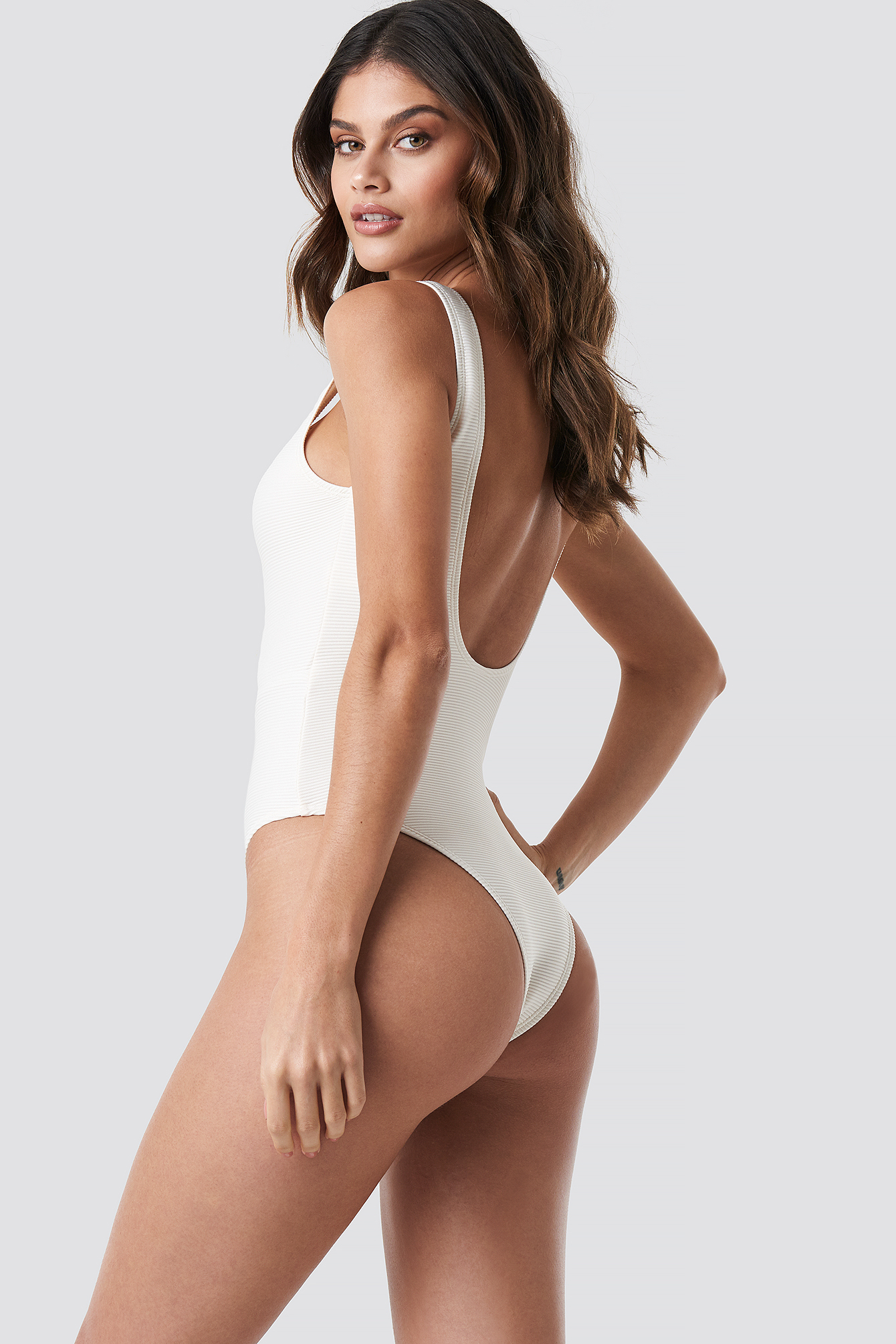 Ribbed Lace Up Swimsuit NA-KD.COM