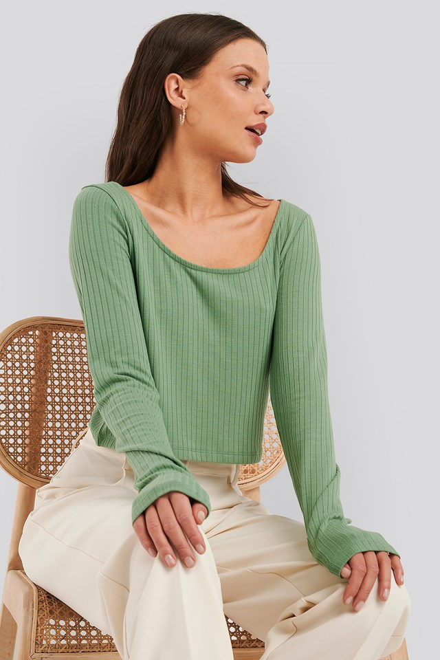 Ribbed Long Sleeve Cropped Top Green